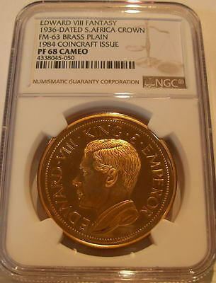 South Africa 1936 Crown Brass NGC PF-68 Cameo Edward 8 Fantasy Coincraft Issue
