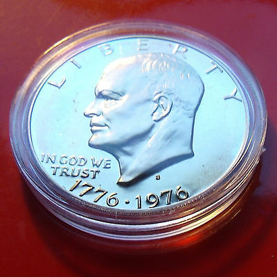 BRILLIANT 1976 S EISENHOWER DOLLAR, PROOF- HINTS OF GOLD TONING w NICE HOLDER!