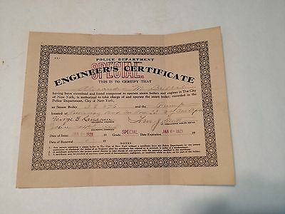 Estate 1921 Engineer's Certificate Police Department City of New York