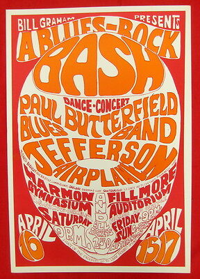Psychedelic poster Fillmore #3 1966 mint Jefferson Airplane Paul Butterfield Blu