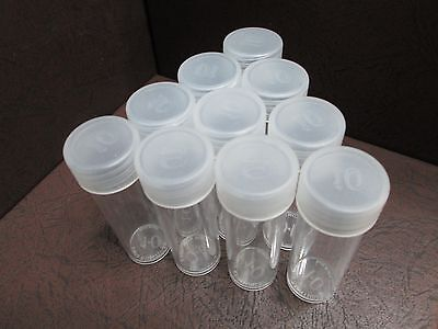 Lot of 10 Round Plastic Coin Storage Tubes for Dimes w/Screw On Caps