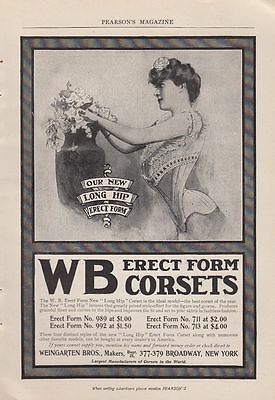 1902 Weingarten Bros New York NY Ad: New Long Hip WB Erect Form Corsets