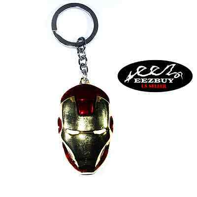 New Marvel The Avengers Character Iron Man Red Gold Mask Metal Keyring Keychain