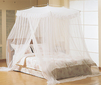 White Princess Mosquito Net Canopy Bed King Queen Full Size Netting Canopies