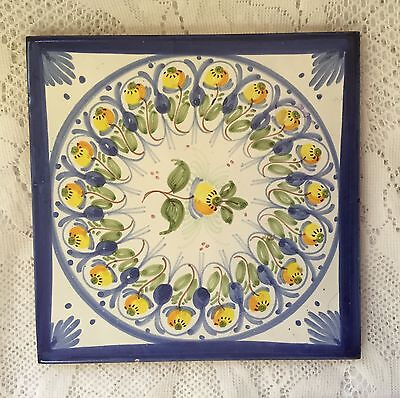 """Single Accent Tile Clay Blue Yellow 6"""" Square Spain"""