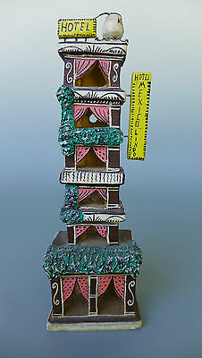 "Small vintage 1988 Mexican ceramic hotel by GLM  9 1/8"" tall"