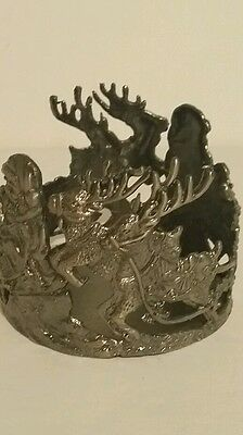 Santa and Reindeer candle holder silver color