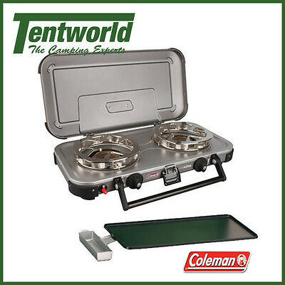 Coleman Hyperflame FyreKnight 2 Burner Stove Full Size Griddle Plate Grease Cup