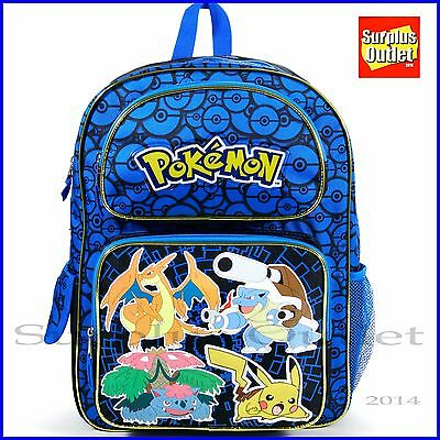 "Pokemon Backpack 16"" Large School Backpack Book Bag"