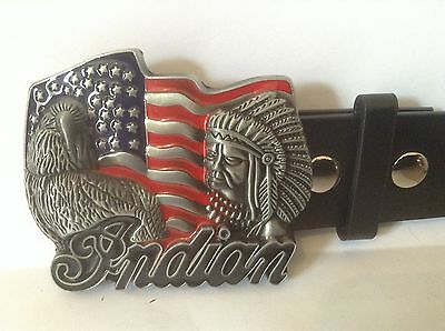 "Indian Motorcycles Buckle & Belt (All Sizes 30"" – 50"") Indian Symbol Design"