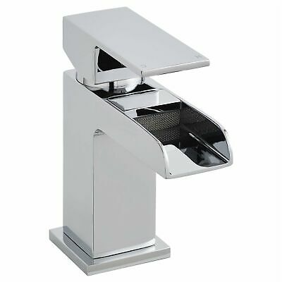 Waterfall Mini Mono Basin Mixer Solid Brass Chrome Tap w/ Free Push Button Waste