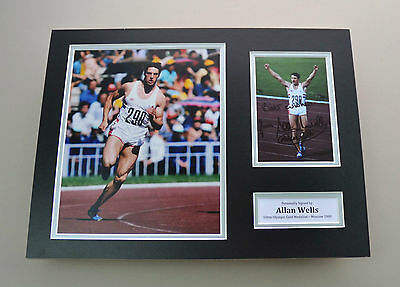 Allan Wells Signed 16x12 Photo Autograph Display Olympic 100m Memorabilia + COA