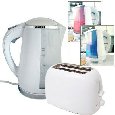White 1.7L 2200W Dual Illuminated Cordless Electric Jug Kettle + Toaster Set
