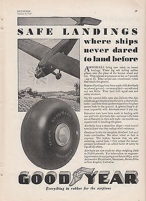 1930 Goodyear Airwheels Akron OH Ad: Safe Landings Where Ships Never Dared Land