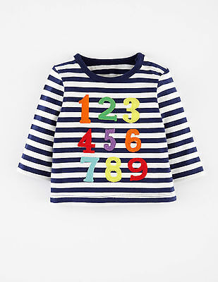 Baby & Boys NEW Ex Mini Boden Striped Applique T-Shirt Top - Age 0m-3y - Numbers