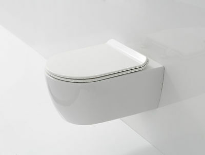 RIMLESS Compact D Shape Wall Hung Toilet WC Soft Close SLIM Seat Space Saver 485