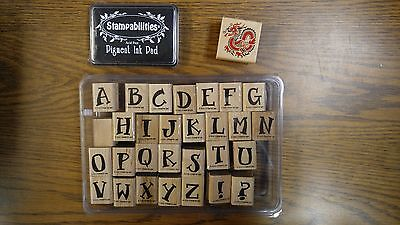 Stampin' Up! Alphabet Upper Case Rubber Stamp Set -28 Plus Chinese Dragon & Ink