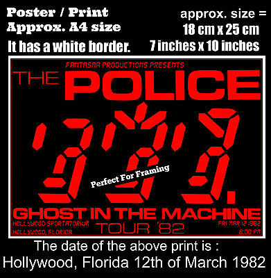 The Police live concert Hollywood Florida 12th March 1982 A4 size poster print