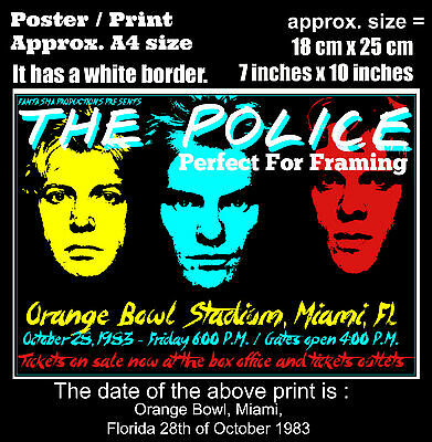 The Police live concert Miami Florida 28th of October 1983 A4 size poster print