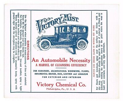 Original Nos 1920S Auto Parts Car Vintage Label Automobile Victory Philadelphia