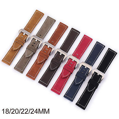 18mm 20mm 22mm 24mm Retro Genuine Leather Watch Band Vintage Strap Women Mens