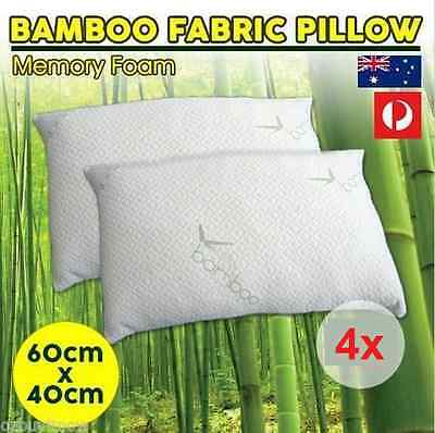 4 x Luxury Bamboo  Pillow Memory Foam 40x60CM Vertebra Care Anti-bacteria