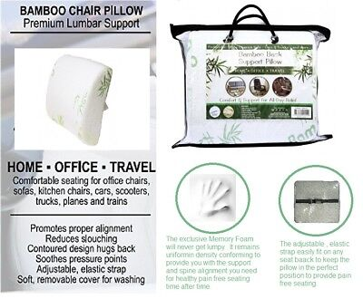 Bamboo Lower Back Support for Chair Seat Cushion Posture Corrector Pillow Lumbar