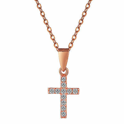 S925 Sterling Silver Tiny Cross Pendant Necklace with Swarovski Element RoseGold