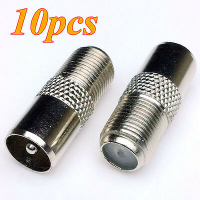10 Pcs Coaxial TV Cable F-Type Female To Male PAL RF Plug Adapter Connector