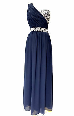 Blue Maxi Dress Gem Sequin Embellished Bridesmaid Party Prom Gown Size 8-24
