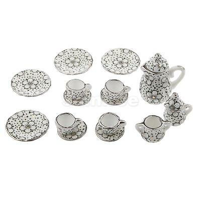 17pcs Porcelain Miniature Coffee Tea Cups Saucers Set Doll House Accessories