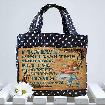 Alice in Wonderland Mad Hatter Blue Spotty Cool Lunch bag Insulated Tote AW02