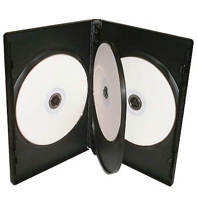25 X CD DVD 14mm Black DVD 4 Way Case for 4 Disc - Pack of 25