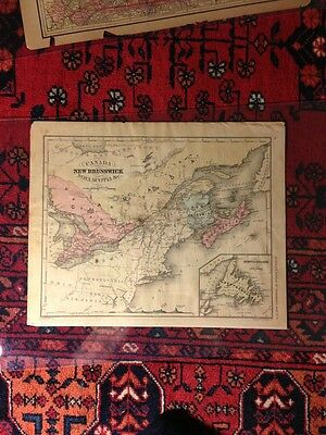 Map of CANADA New Brunswick Nova Scotia & Newfoundland from McNallys System