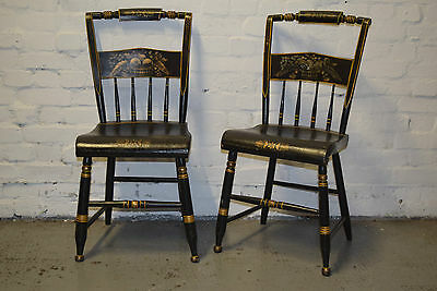 Pair of American ebonised side chairs (DELIVERY AVAILABLE)
