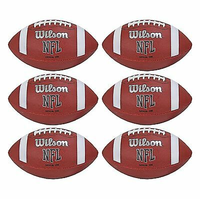 Wilson NFL Official Size PVC/Rubber Cover American Footballs (6 Pack) WTF1858