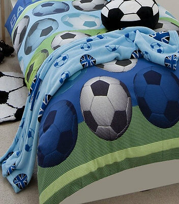 Boys Football Fleece Blanket - Blue