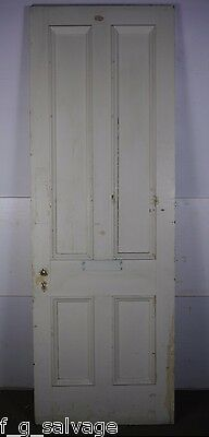 "Antique Vintage 4 Panel Interior Door 91-5/8"" X 31-5/8"" (S4) 1800's Local Pickup"
