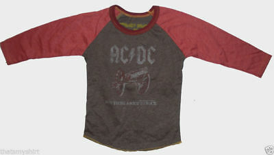 New Authentic Rowdy Sprout AC/DC About to Rock Vintage Kids Raglan T-Shirt