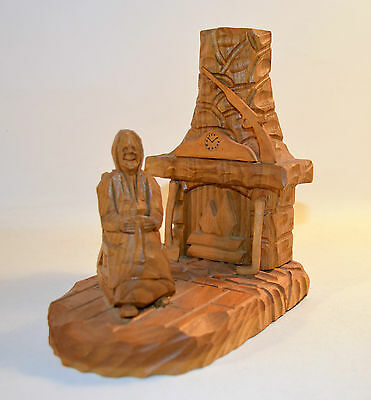 Vintage Folk Art Hand Carved Wood Sculpture Old Lady in Rocking Chair Fireplace