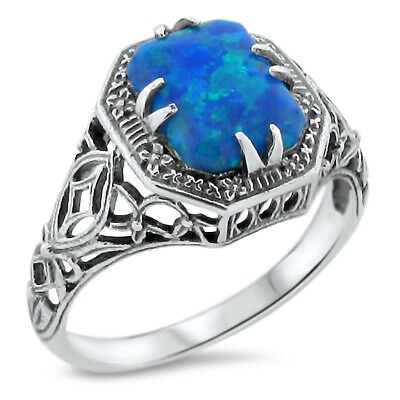#894 OPAL 925 STERLING SILVER RING ANTIQUE STYLE SYN