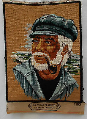 Vintage French Needlepoint Tapestry 'Le Vieux Pecheur' The Old Fisherman  (3974)