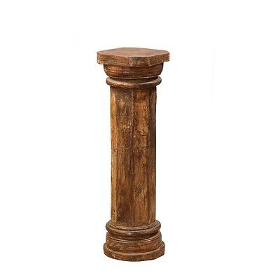 "36"" Tall Luana Bookstand Pillar Hand Carved Solid Wood Antique Vintage Columns"
