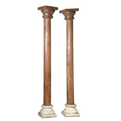 "108"" Satordi Wooden Large Old Antique Wood Carved Pillar Set of 2 Columns 108x15"
