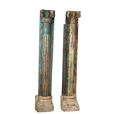 "88.5"" Tall Monique Wooden Half Pillar Set of 2 Hand Carved Antique Vintage Colum"
