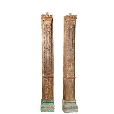 "95"" Milena Wooden Half Large Old Antique Wood Carved Pillar Set of 2 Columns 95x"