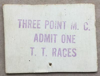 "1934-37 Ticket ""three Point Motorcycle Club"" Tourist Trophy Course Race S. Calif"