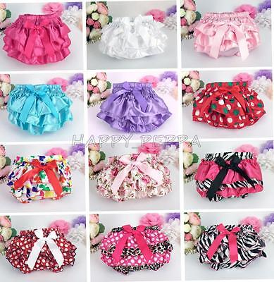 Baby Girls Infant Ruffle Bloomer Panties Shorts Bow Pettiskirt Nappy Cover 3-24M