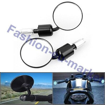 Universal Black Motorcycle Scooter Mirrors Convex Bar End Pair Round CNC Alloy