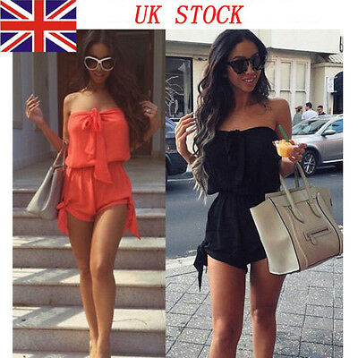 From UK Womens Celeb Mini Playsuit Ladies Jumpsuit Summer Beach Shorts  6 - 22